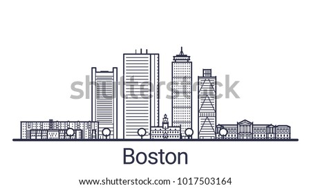 Linear banner of Boston city. All buildings - customizable different objects with clipping mask. Line art.