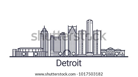 Linear banner of Detroit city. All buildings - customizable different objects with clipping mask. Line art.