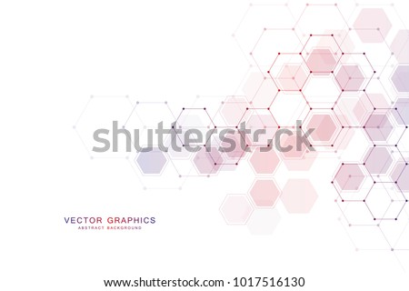 Geometric abstract background with hexagons. Structure molecule and communication. Science, technology and medical concept. Vector illustration Royalty-Free Stock Photo #1017516130