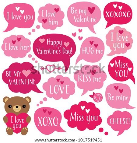 Valentine's Day vector speech bubbles set
