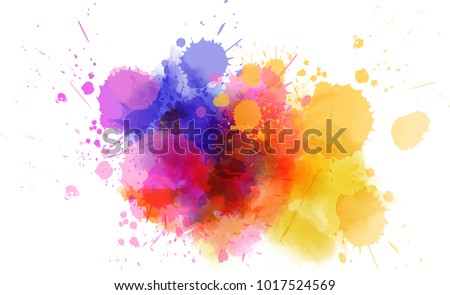Multicolored splash watercolor blot - template for your designs.