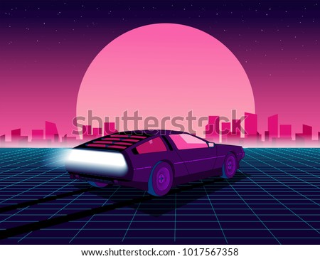 Retro future. 80s style sci-fi background with supercar. Futuristic retro car. Vector retro futuristic synth illustration in 1980s posters style. Suitable for any print design in 80s style Royalty-Free Stock Photo #1017567358