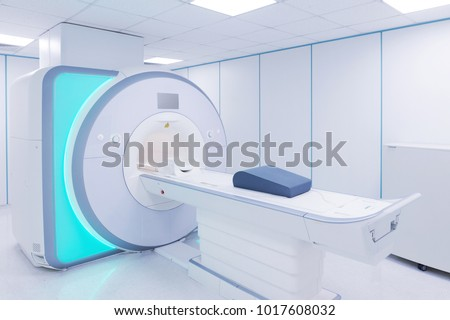 MRI - Magnetic resonance imaging scan device in Hospital. Medical Equipment and Health Care. #1017608032