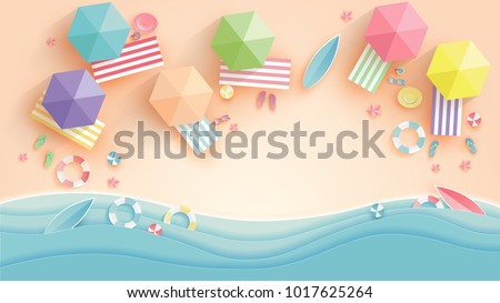 Top view beach background with umbrellas,balls,swim ring,sunglasses,surfboard, hat,sandals,juice,starfish and sea. aerial view of summer beach in paper craft style.paper cut and craft style. vector. Royalty-Free Stock Photo #1017625264