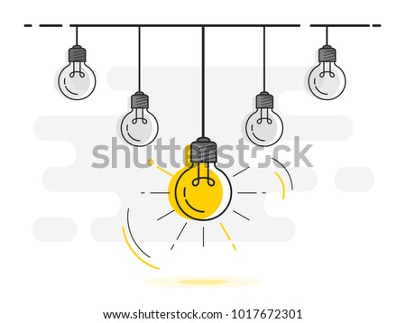 Set of hanging light bulbs with one glowing. Trendy flat vector light bulb icons with concept of idea on white background.  Royalty-Free Stock Photo #1017672301