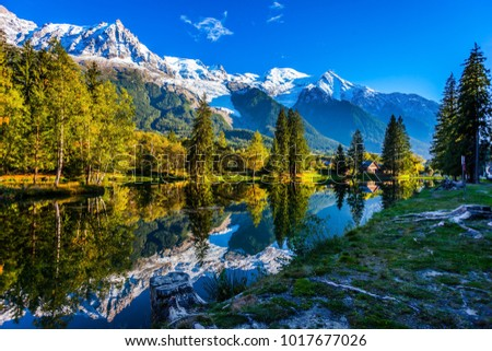 Concept of active and ecotourism. Large stump on the shore of the lake. Snowy Alps are reflected in the lake. Magically beautiful park in the mountain resort of Chamonix #1017677026