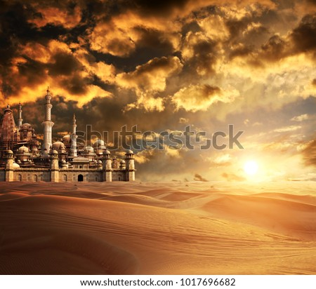 A fabulous lost city in the desert. On beautiful sunset sky background #1017696682