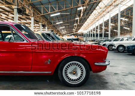 NAKHON PATHOM, THAILAND - 4 FEB 2018: Vintage cars at Jesada Technik Museum. Many brand and classic model Mercedes, Volvo and Chevrolet included. #1017718198