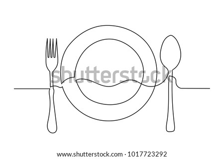 Continuous line drawing. Close-up. Clean plate, fork and spoon. Drawing by hand on a sign or business cards in a cafe. Lines black on white background.