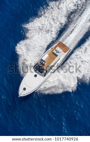 aerial view luxury motor boat #1017740926