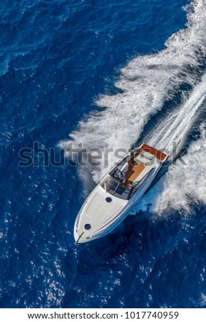 aerial view luxury motor boat #1017740959