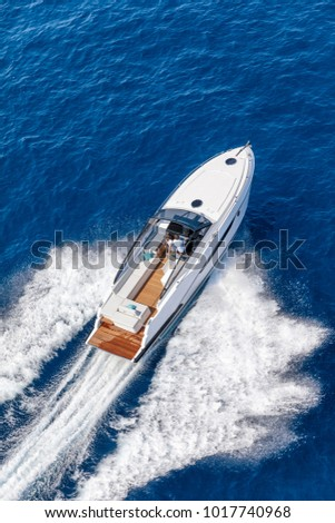 aerial view luxury motor boat #1017740968