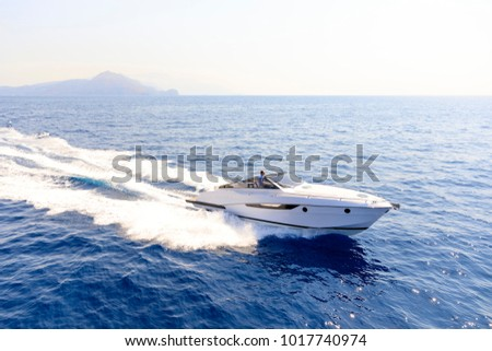 aerial view luxury motor boat #1017740974