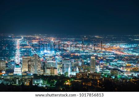 salt lake city,utah,usa. 2017/06/14 : beautiful salt lake city at night with traffic light.