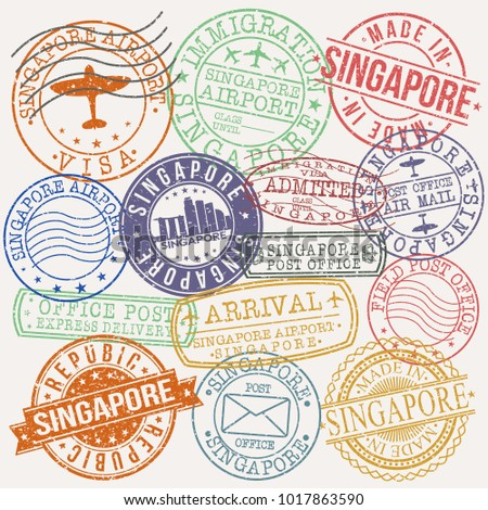 Singapore City Stamp Vector Art Postal Passport Design Badge Seal Rubber.