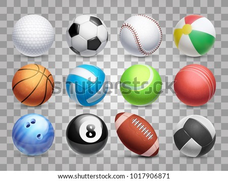 Realistic sports balls vector big set isolated on transparent background. Illustration of soccer and baseball, football game and tennis Royalty-Free Stock Photo #1017906871