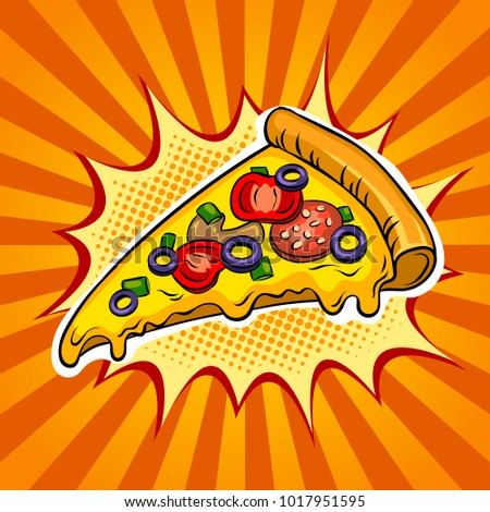 Slice of pizza pop art retro raster illustration. Color background. Comic book style imitation.