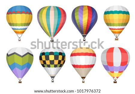 hot air balloon vector icons set