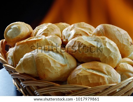 "Basket of ""French bread"", traditional Brazilian bread #1017979861"