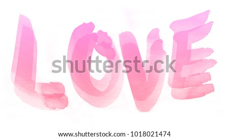 Abstract watercolor art hand paint on white background,Love Reaction for Valentine Day. Painted with watercolor. #1018021474