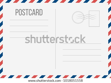 Creative vector illustration of postcard isolated on transparent background. Postal travel card art design. Blank airmail mockup template. Abstract concept graphic element Royalty-Free Stock Photo #1018051558