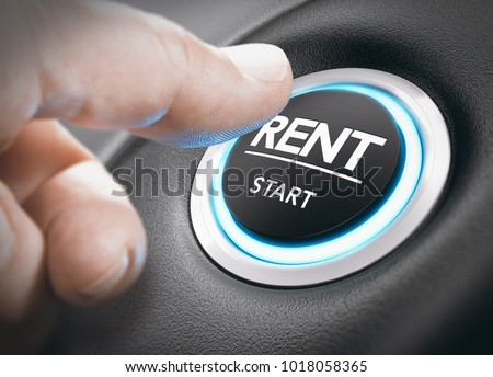 Man pushing a start button with the word rent. concept of car or vehicle rental. Composite image between a hand photography and a 3D background. Royalty-Free Stock Photo #1018058365