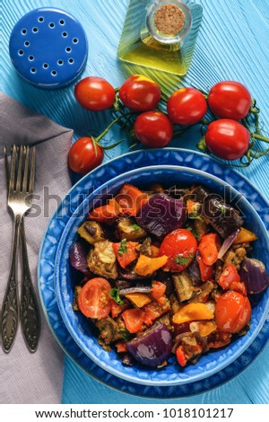 Oven baked vegetables salad - eggplants, tomatoes, sweet peppers and onion. #1018101217