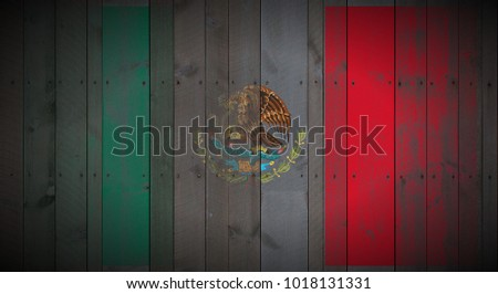 Mexico flag painted on vertical_nailed_wood_planks texture background #1018131331