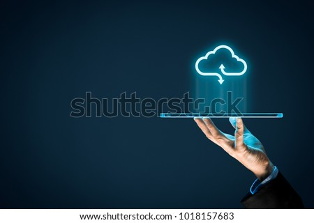 Cloud computing concept - connect devices to cloud. Businessman or information technologist with cloud computing icon and tablet. #1018157683