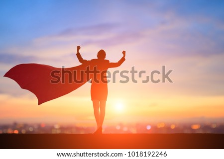 silhouette of super business woman feel strong with sunset Royalty-Free Stock Photo #1018192246
