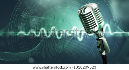 Studio microphone and sound waves