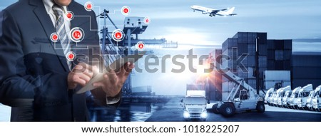 Businessman is pressing button on touch screen interface in front Logistics Industrial Container Cargo freight ship for Concept of fast or instant shipping, Online goods orders worldwide #1018225207