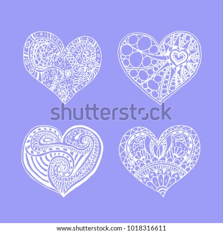 set of four doodle hand drawn white hearts on violet background. Card for Saint Valentines Day. Symbol of love. heart in zentangle style. #1018316611
