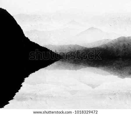 Painting style of chinese landscape Royalty-Free Stock Photo #1018329472