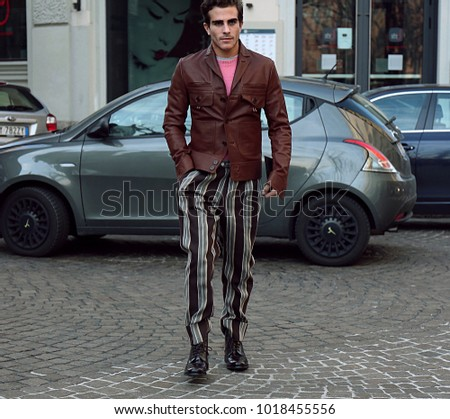 MILAN, Italy- January 14 2018: Carlo Sestini on the street during the Milan Fashion Week. #1018455556
