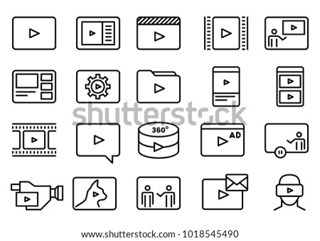 Set of Simple Video Content Related Vector Line Art Icons. Consist of Presentation, Stream, Virtual Reality, Advertisement, Vlog, Mobile Phone, Tablet, Camera Icons. Pixel Perfect.