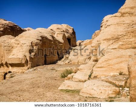 Entrance to Petra through the gorge Siqh, Jordan #1018716361