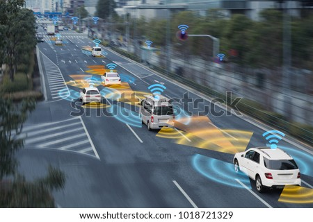 Sensing system and wireless communication network of vehicle. Autonomous car. Driverless car. Self driving vehicle. #1018721329