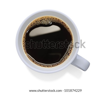 Top view of a cup of coffee, isolate on white #101874229