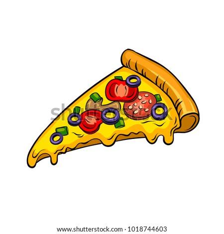 Slice of pizza pop art retro raster illustration. Isolated image on white background. Comic book style imitation.