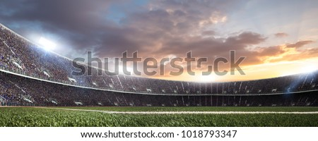 stadium with fans before the match. Royalty-Free Stock Photo #1018793347
