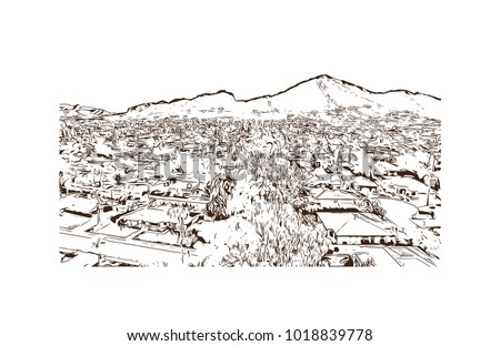 Buildings and street view of Phoenix City, Arizona, USA. Hand drawn sketch illustration in vector. #1018839778