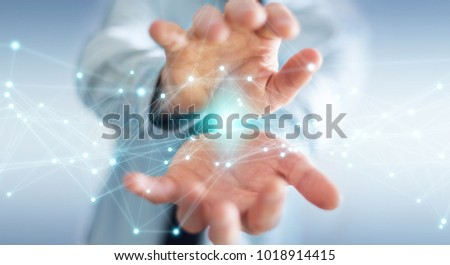 Businessman on blurred background using flying network connection 3D rendering #1018914415