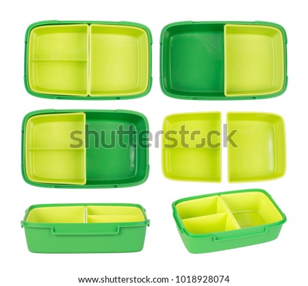 Epmty lunch box isolated on white background #1018928074