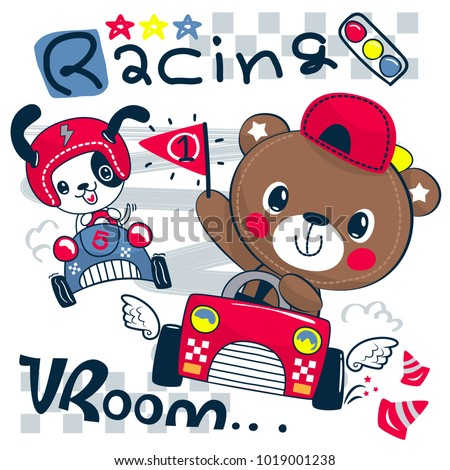 Cute teddy bear cartoon driving race car holding a number one flag with little dog isolated on white background illustration vector.