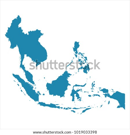 Abstract - High Detailed blue Map of Southeast Asia isolated on white background. for your web site design map logo, app, ui, Travel vector illustration eps10. Royalty-Free Stock Photo #1019033398