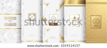 Collection of design elements,labels,icon,frames, for packaging,design of luxury products.Made with golden foil.Isolated on white background. vector illustration Royalty-Free Stock Photo #1019114137