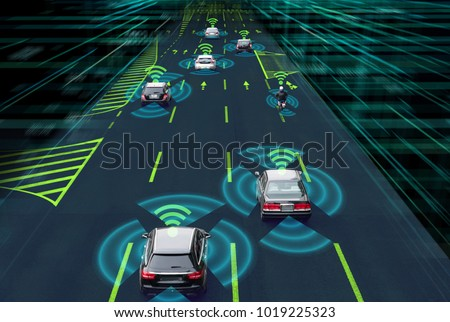 Sensing system and wireless communication network of vehicle. Autonomous car. Driverless car. Self driving vehicle.  #1019225323