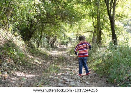 Cheerful little boy runs and play on country road in forest #1019244256