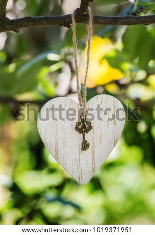 Wooden heart decor with a key from the heart hanging on a tree branch. White heart empty for the name caption with a key